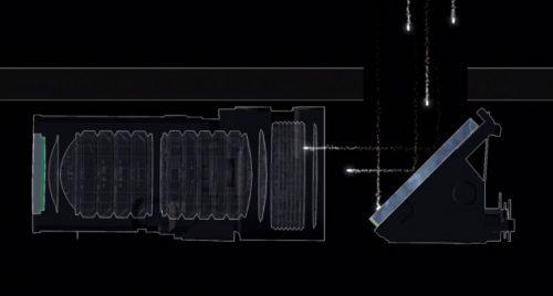 Schéma du miroir devant l'objectif d'un Light L16
